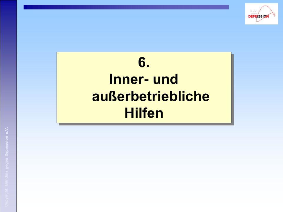 Copyright: Bündnis gegen Depression e.V. 6. Inner- und außerbetriebliche Hilfen 6.