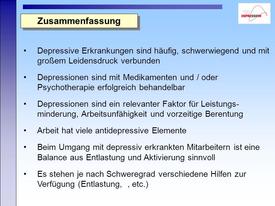 Zusammenfassung Depressive Erkrankungen sind häufig, schwerwiegend und mit großem Leidensdruck verbunden Depressionen sind mit Medikamenten und / oder Psychotherapie erfolgreich behandelbar Depressionen sind ein relevanter Faktor für Leistungs- minderung, Arbeitsunfähigkeit und vorzeitige Berentung Arbeit hat viele antidepressive Elemente Beim Umgang mit depressiv erkrankten Mitarbeitern ist eine Balance aus Entlastung und Aktivierung sinnvoll Es stehen je nach Schweregrad verschiedene Hilfen zur Verfügung (Entlastung,, etc.)