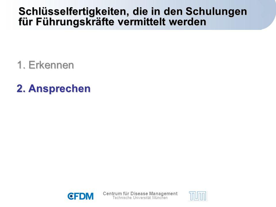 Centrum für Disease Management Technische Universität München Schlüsselfertigkeiten, die in den Schulungen für Führungskräfte vermittelt werden 1.