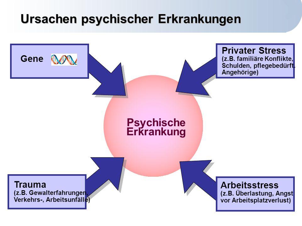 Centrum für Disease Management Technische Universität München Psychische Erkrankung Ursachen psychischer Erkrankungen Privater Stress (z.B.