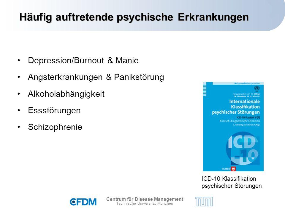 Centrum für Disease Management Technische Universität München Depression/Burnout & Manie Angsterkrankungen & Panikstörung Alkoholabhängigkeit Essstörungen Schizophrenie ICD-10 Klassifikation psychischer Störungen Häufig auftretende psychische Erkrankungen