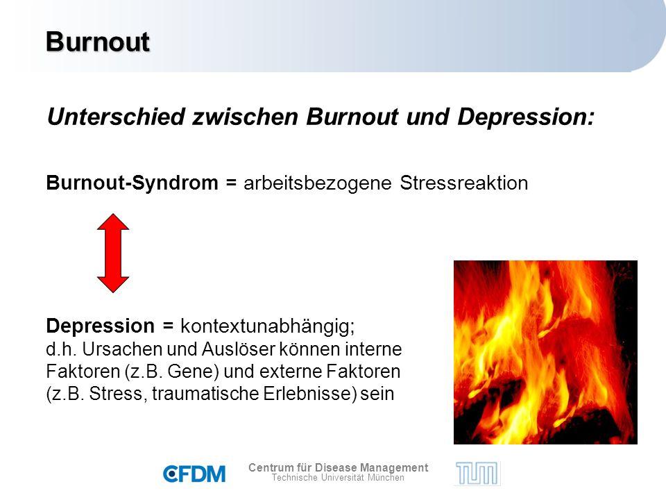 Centrum für Disease Management Technische Universität München Depression = kontextunabhängig; d.h.