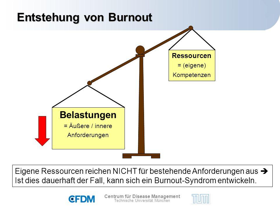 Centrum für Disease Management Technische Universität München Entstehungvon Burnout Entstehung von Burnout Eigene Ressourcen reichen NICHT für bestehende Anforderungen aus  Ist dies dauerhaft der Fall, kann sich ein Burnout-Syndrom entwickeln.