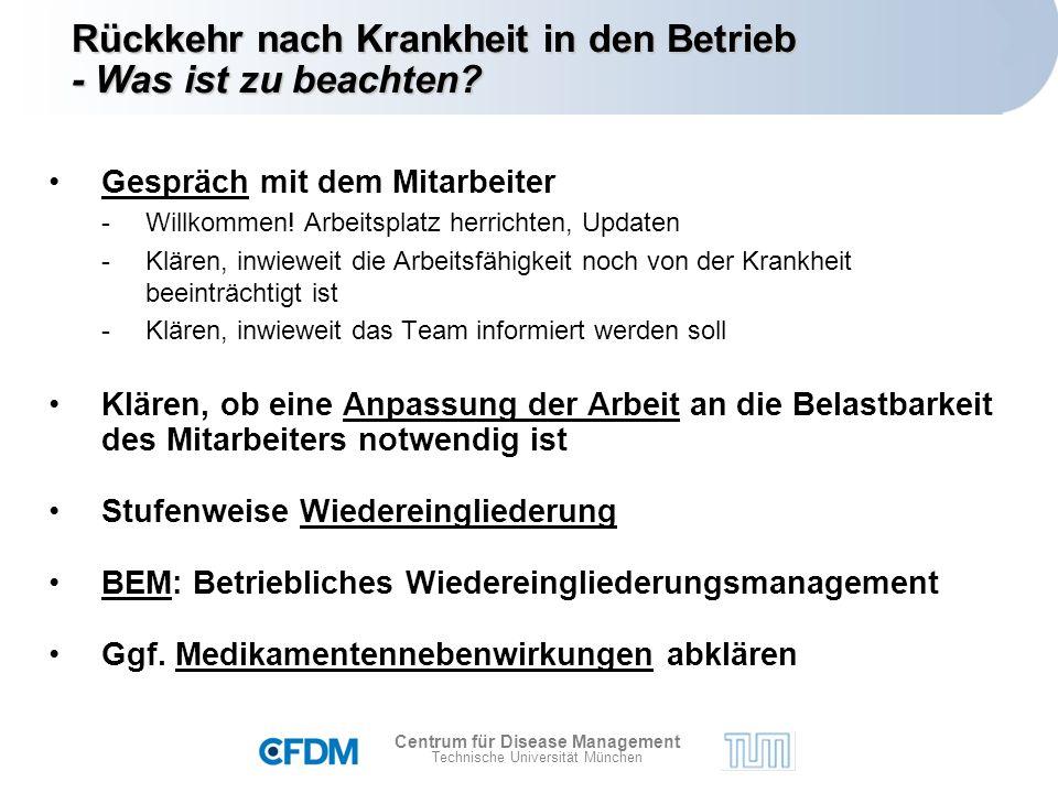 Centrum für Disease Management Technische Universität München Gespräch mit dem Mitarbeiter -Willkommen.