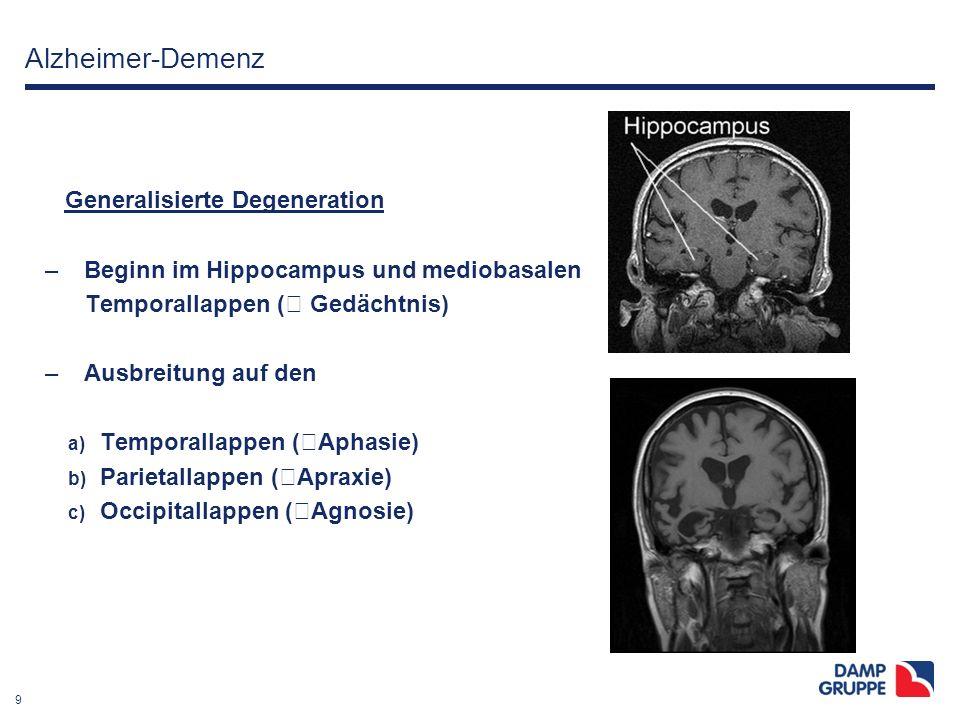 9 Alzheimer-Demenz Generalisierte Degeneration – Beginn im Hippocampus und mediobasalen Temporallappen (  Gedächtnis) – Ausbreitung auf den a) Tempor