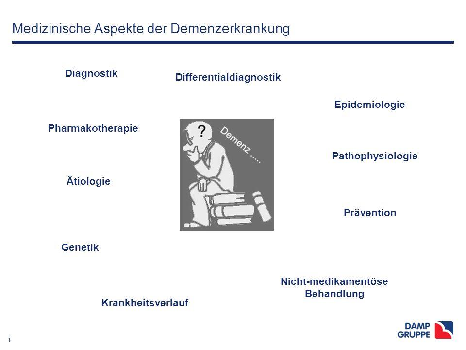 1 Medizinische Aspekte der Demenzerkrankung Diagnostik Pharmakotherapie Ätiologie Differentialdiagnostik Epidemiologie Pathophysiologie Nicht-medikame