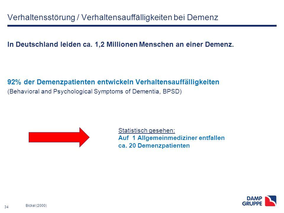 34 Verhaltensstörung / Verhaltensauffälligkeiten bei Demenz In Deutschland leiden ca. 1,2 Millionen Menschen an einer Demenz. 92% der Demenzpatienten