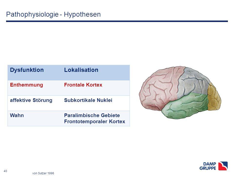 40 Pathophysiologie - Hypothesen DysfunktionLokalisation EnthemmungFrontale Kortex affektive StörungSubkortikale Nuklei WahnParalimbische Gebiete Fron