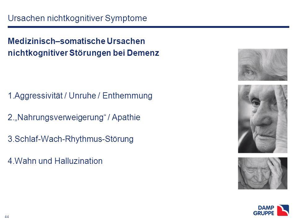 """44 Ursachen nichtkognitiver Symptome Medizinisch–somatische Ursachen nichtkognitiver Störungen bei Demenz 1.Aggressivität / Unruhe / Enthemmung 2.""""Nah"""