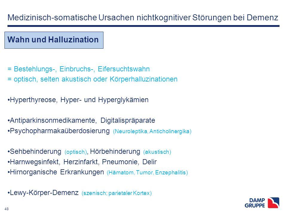 48 Medizinisch-somatische Ursachen nichtkognitiver Störungen bei Demenz Wahn und Halluzination = Bestehlungs-, Einbruchs-, Eifersuchtswahn = optisch,