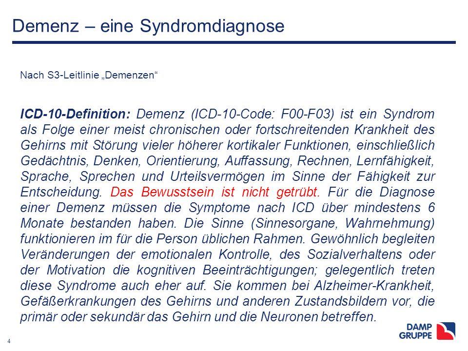 """4 Demenz – eine Syndromdiagnose Nach S3-Leitlinie """"Demenzen"""" ICD-10-Definition: Demenz (ICD-10-Code: F00-F03) ist ein Syndrom als Folge einer meist ch"""