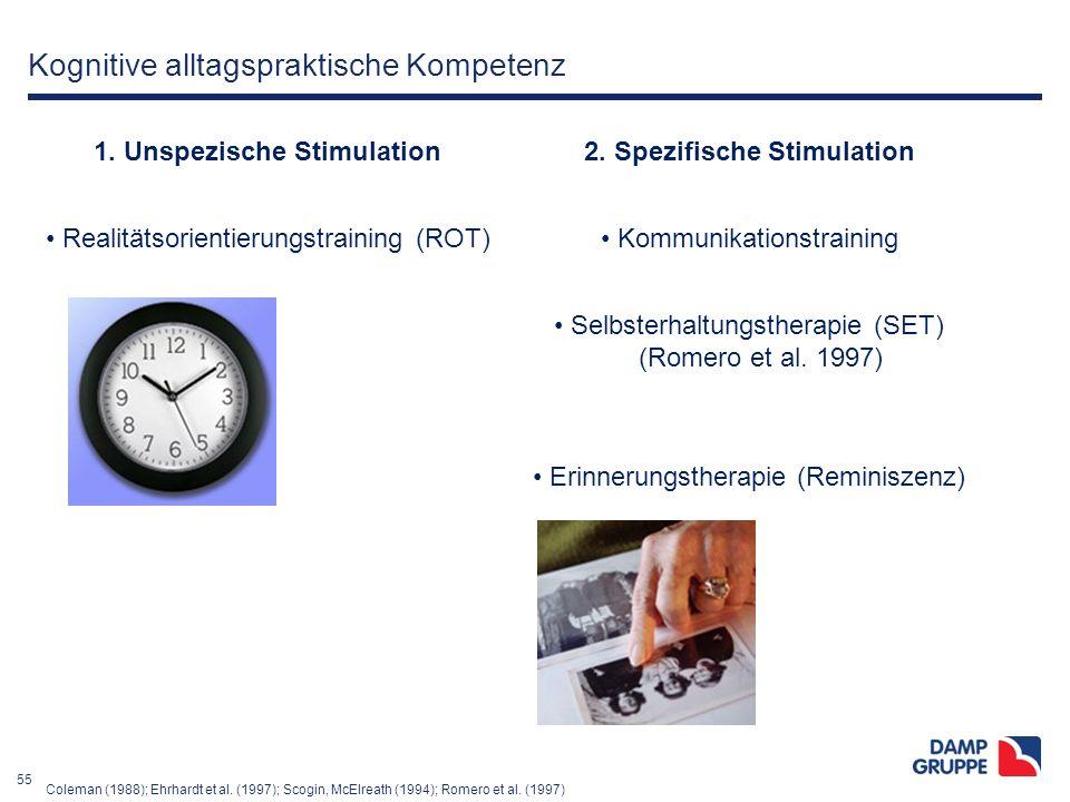 55 Kognitive alltagspraktische Kompetenz 1. Unspezische Stimulation2. Spezifische Stimulation Realitätsorientierungstraining (ROT) Kommunikationstrain
