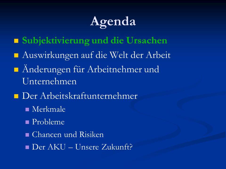 Agenda Subjektivierung und die Ursachen Auswirkungen auf die Welt der Arbeit Änderungen für Arbeitnehmer und Unternehmen Der Arbeitskraftunternehmer Merkmale Probleme Chancen und Risiken Der AKU – Unsere Zukunft?