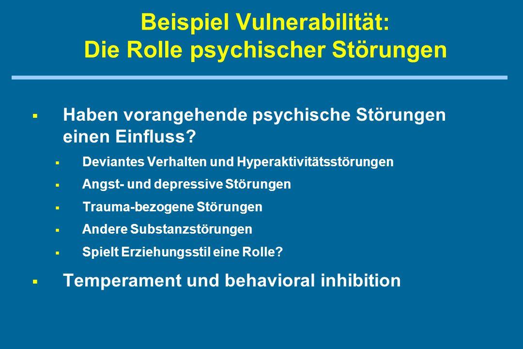 Beispiel Vulnerabilität: Die Rolle psychischer Störungen   Haben vorangehende psychische Störungen einen Einfluss.