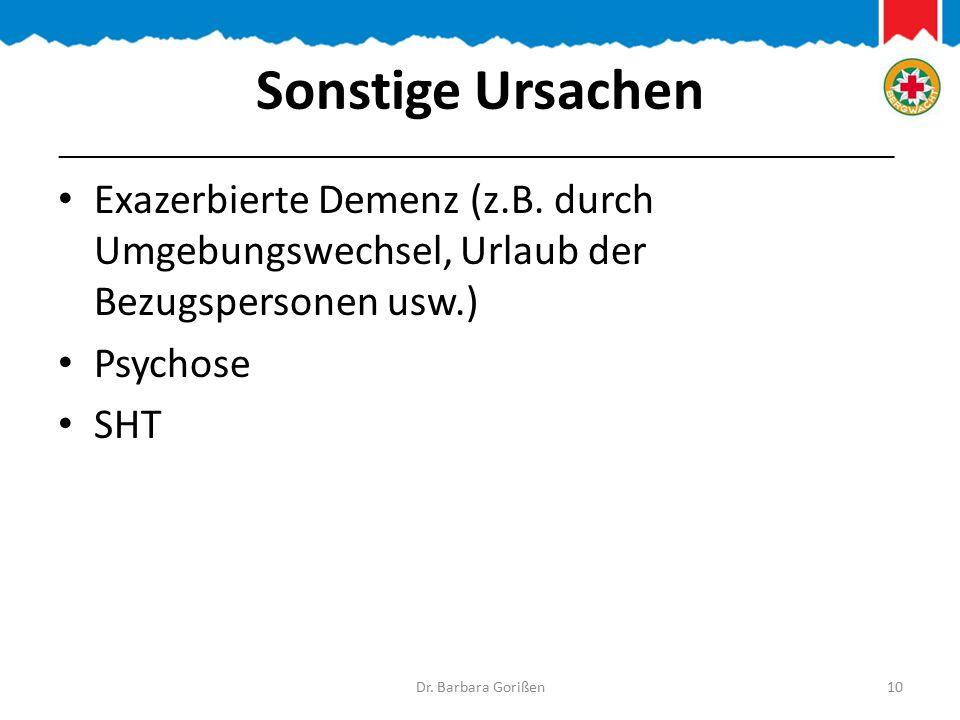 Sonstige Ursachen Exazerbierte Demenz (z.B.
