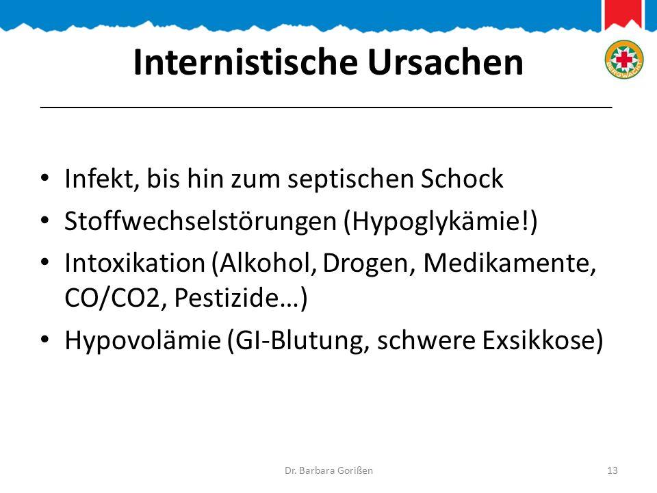 Internistische Ursachen Infekt, bis hin zum septischen Schock Stoffwechselstörungen (Hypoglykämie!) Intoxikation (Alkohol, Drogen, Medikamente, CO/CO2, Pestizide…) Hypovolämie (GI-Blutung, schwere Exsikkose) Dr.