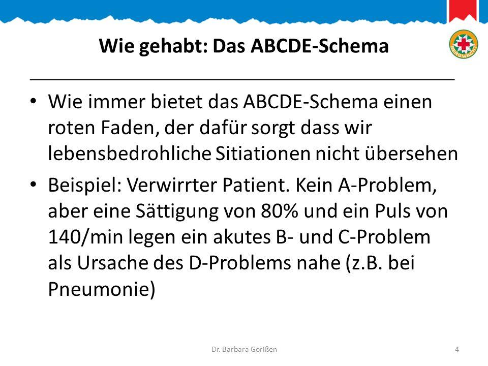 Wie gehabt: Das ABCDE-Schema Wie immer bietet das ABCDE-Schema einen roten Faden, der dafür sorgt dass wir lebensbedrohliche Sitiationen nicht übersehen Beispiel: Verwirrter Patient.