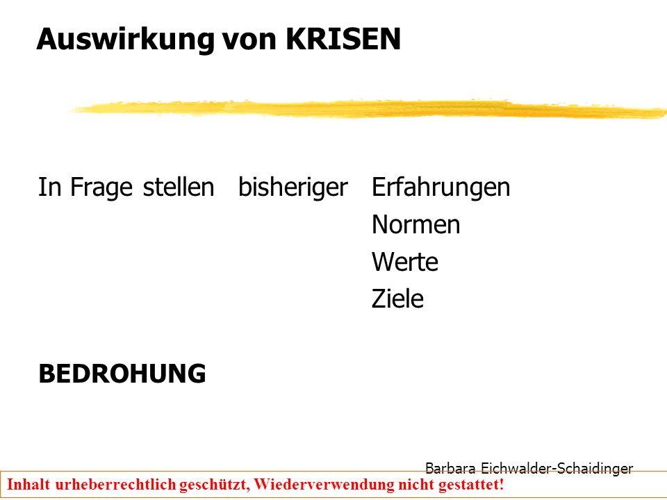 Barbara Eichwalder-Schaidinger Inhalt urheberrechtlich geschützt, Wiederverwendung nicht gestattet! Auswirkung von KRISEN In Frage stellen bisheriger