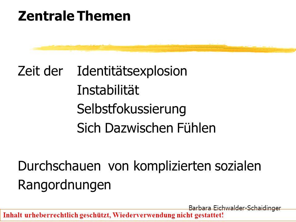 Barbara Eichwalder-Schaidinger Inhalt urheberrechtlich geschützt, Wiederverwendung nicht gestattet! Zentrale Themen Zeit der Identitätsexplosion Insta
