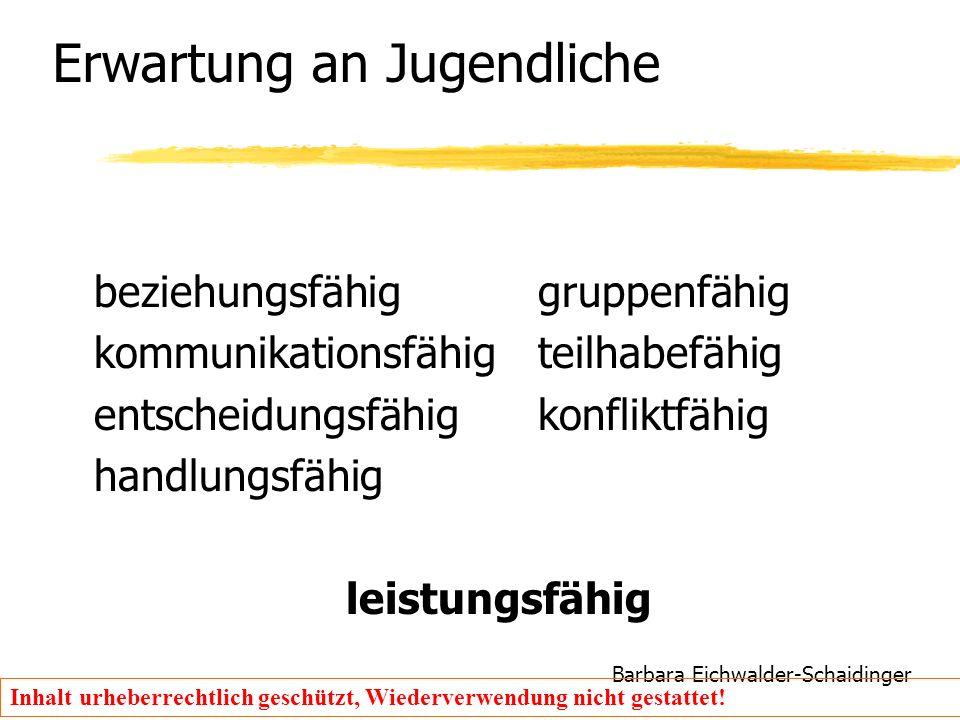 Barbara Eichwalder-Schaidinger Inhalt urheberrechtlich geschützt, Wiederverwendung nicht gestattet! Erwartung an Jugendliche beziehungsfähiggruppenfäh