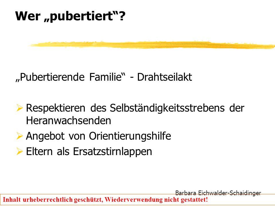 """Barbara Eichwalder-Schaidinger Inhalt urheberrechtlich geschützt, Wiederverwendung nicht gestattet! Wer """"pubertiert""""? """"Pubertierende Familie"""" - Drahts"""