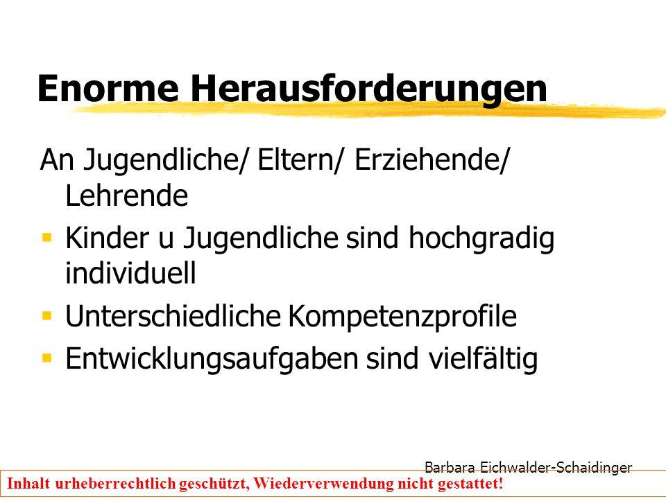 Barbara Eichwalder-Schaidinger Inhalt urheberrechtlich geschützt, Wiederverwendung nicht gestattet! Enorme Herausforderungen An Jugendliche/ Eltern/ E