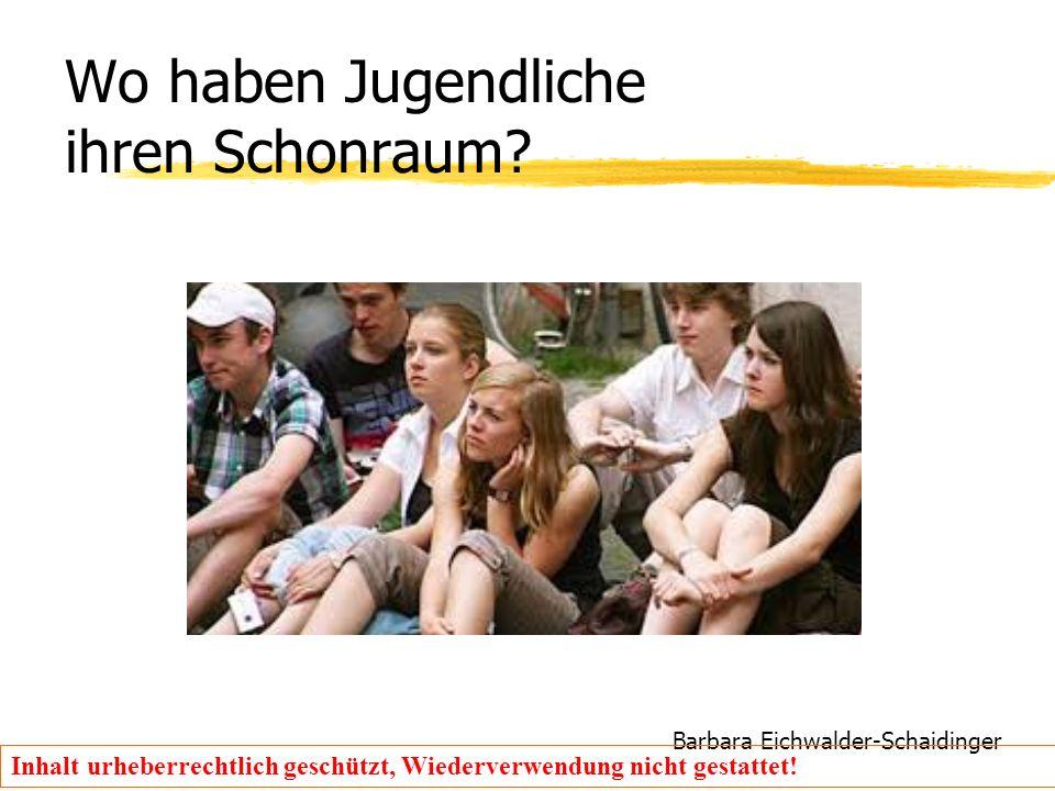 Barbara Eichwalder-Schaidinger Inhalt urheberrechtlich geschützt, Wiederverwendung nicht gestattet! Wo haben Jugendliche ihren Schonraum?