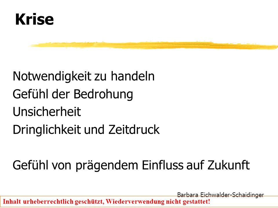 Barbara Eichwalder-Schaidinger Inhalt urheberrechtlich geschützt, Wiederverwendung nicht gestattet! Krise Notwendigkeit zu handeln Gefühl der Bedrohun