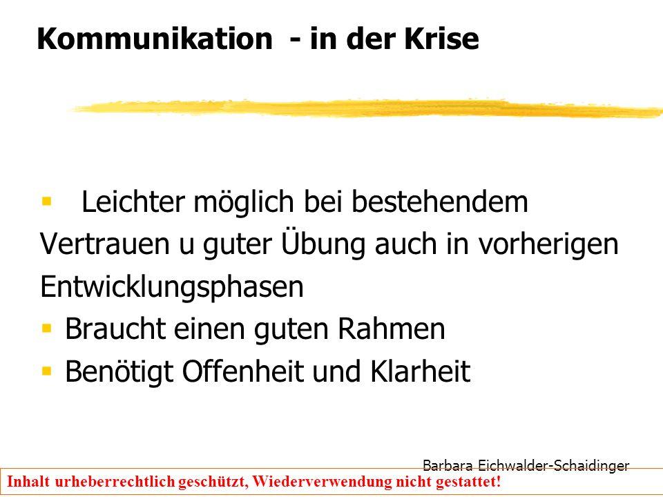 Barbara Eichwalder-Schaidinger Inhalt urheberrechtlich geschützt, Wiederverwendung nicht gestattet! Kommunikation - in der Krise  Leichter möglich be