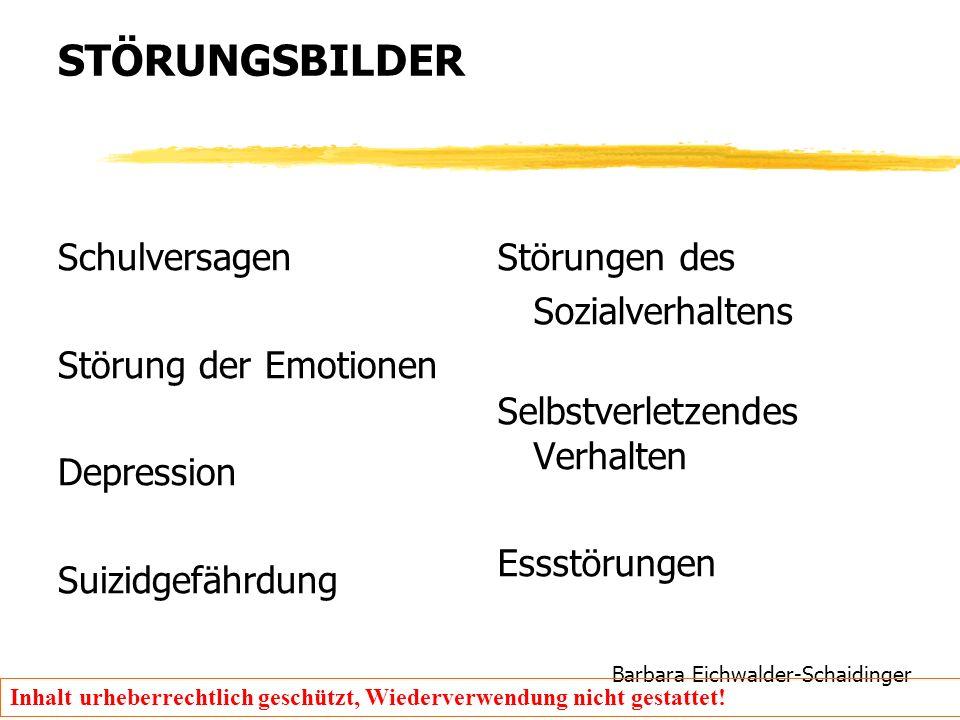 Barbara Eichwalder-Schaidinger Inhalt urheberrechtlich geschützt, Wiederverwendung nicht gestattet! STÖRUNGSBILDER Schulversagen Störung der Emotionen