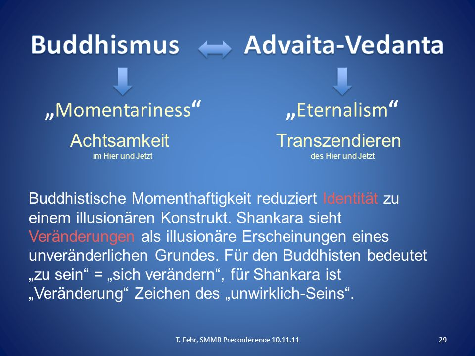 """"""" Momentariness """""""" Eternalism """" Buddhistische Momenthaftigkeit reduziert Identität zu einem illusionären Konstrukt. Shankara sieht Veränderungen als i"""