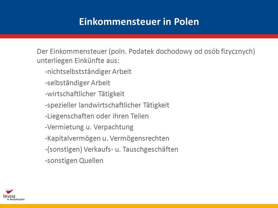 Einkommensteuer in Polen Der Einkommensteuer (poln.