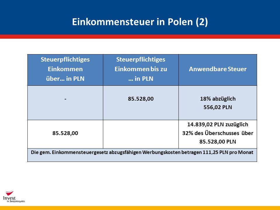 Einkommensteuer in Polen (2) Steuerpflichtiges Einkommen über… in PLN Steuerpflichtiges Einkommen bis zu … in PLN Anwendbare Steuer - 85.528,00 18% abzüglich 556,02 PLN 85.528,00 14.839,02 PLN zuzüglich 32% des Überschusses über 85.528,00 PLN Die gem.