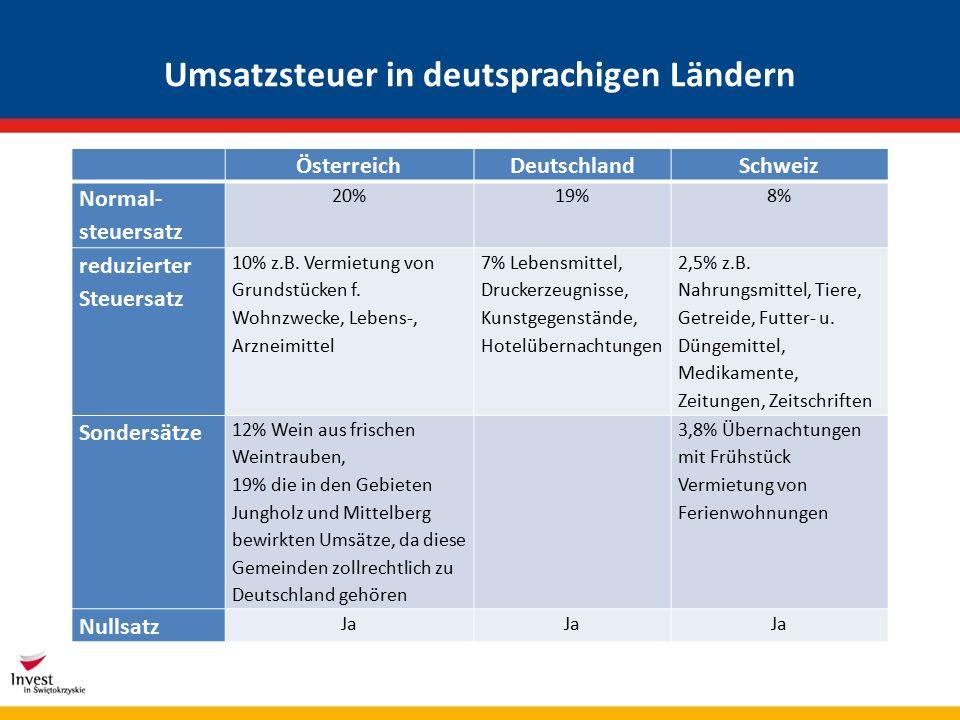 Umsatzsteuer in deutsprachigen Ländern ÖsterreichDeutschlandSchweiz Normal- steuersatz 20%19%8% reduzierter Steuersatz 10% z.B.
