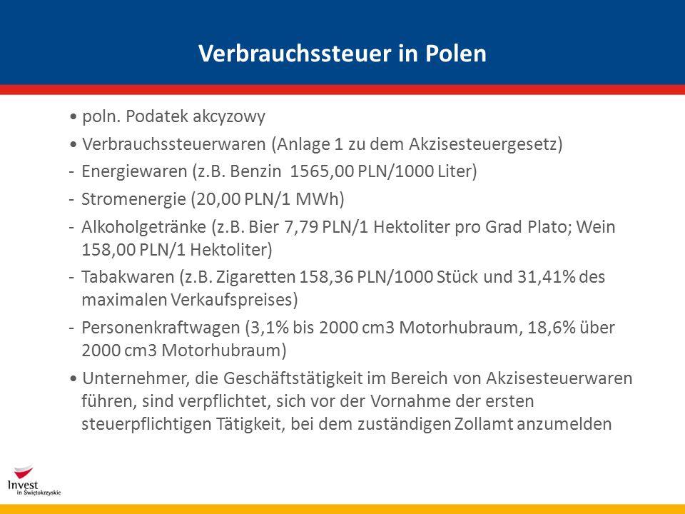 Verbrauchssteuer in Polen poln.