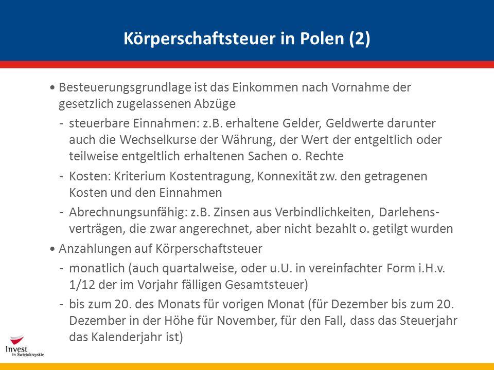 Zusammenfassung der Einkommensteuersysteme PolenÖsterreichDeutschlandSchweiz Steuersystem Progression idR Progression Einkommen- steuertarif 0 (3k)-32(85k) 0 (11k) – 50 (60k) 0 (8k) – 45 (250k)0%-40% Familien- besteuerung keine Splitting i.d.R.
