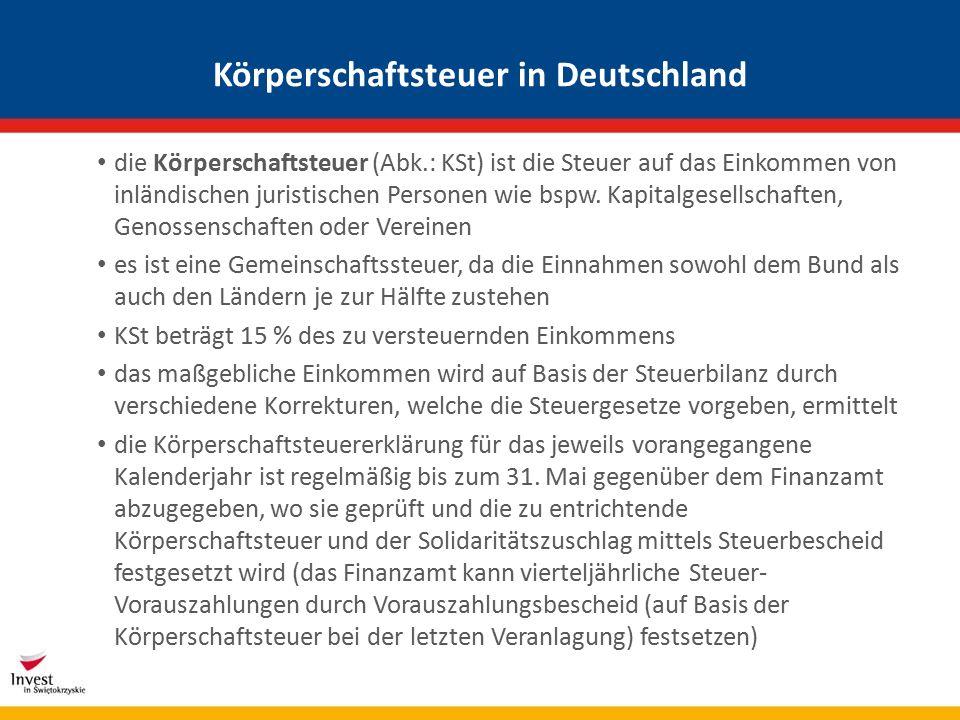 Körperschaftsteuer in Deutschland die Körperschaftsteuer (Abk.: KSt) ist die Steuer auf das Einkommen von inländischen juristischen Personen wie bspw.