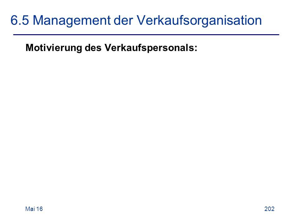 Mai 16202 6.5 Management der Verkaufsorganisation Motivierung des Verkaufspersonals: