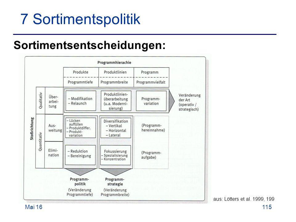 Mai 16115 7 Sortimentspolitik aus: Lötters et al. 1999, 199 Sortimentsentscheidungen:
