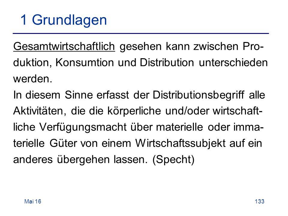 Mai 16133 1 Grundlagen Gesamtwirtschaftlich gesehen kann zwischen Pro- duktion, Konsumtion und Distribution unterschieden werden.