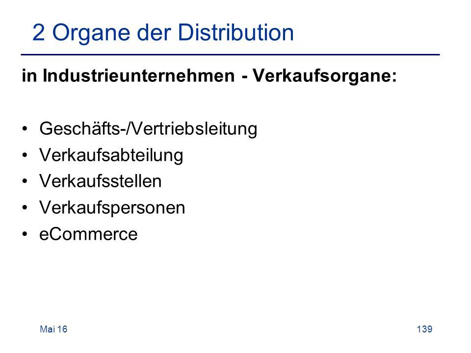 Mai 16139 2 Organe der Distribution in Industrieunternehmen - Verkaufsorgane: Geschäfts-/Vertriebsleitung Verkaufsabteilung Verkaufsstellen Verkaufspersonen eCommerce