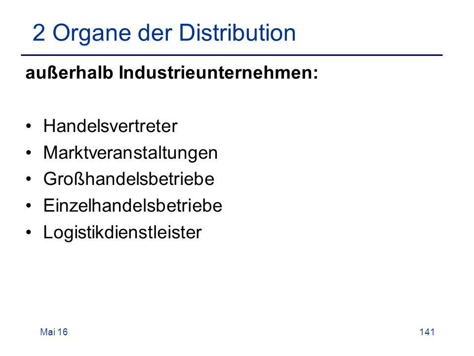 Mai 16141 2 Organe der Distribution außerhalb Industrieunternehmen: Handelsvertreter Marktveranstaltungen Großhandelsbetriebe Einzelhandelsbetriebe Logistikdienstleister