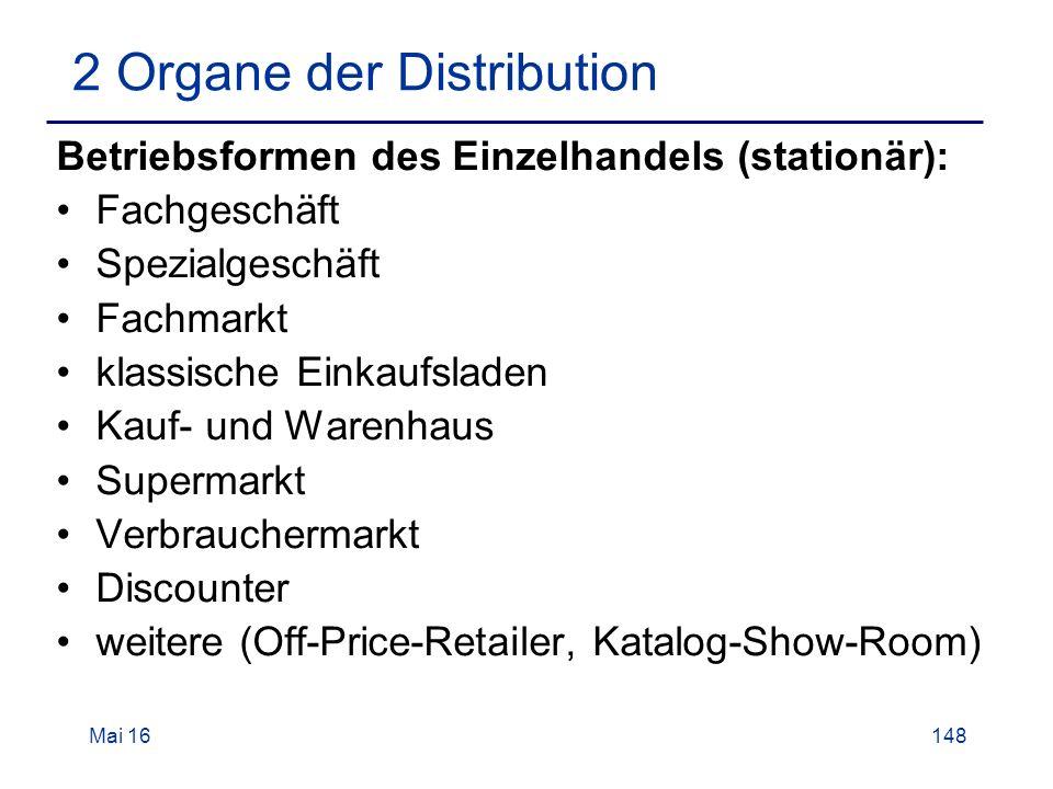 Mai 16148 2 Organe der Distribution Betriebsformen des Einzelhandels (stationär): Fachgeschäft Spezialgeschäft Fachmarkt klassische Einkaufsladen Kauf- und Warenhaus Supermarkt Verbrauchermarkt Discounter weitere (Off-Price-Retailer, Katalog-Show-Room)