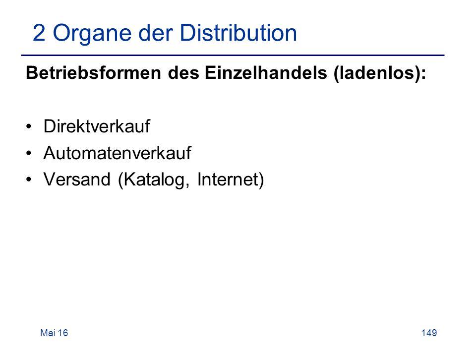 Mai 16149 2 Organe der Distribution Betriebsformen des Einzelhandels (ladenlos): Direktverkauf Automatenverkauf Versand (Katalog, Internet)