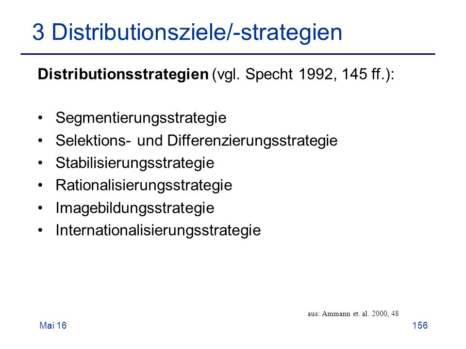 Mai Distributionsziele/-strategien aus: Ammann et.