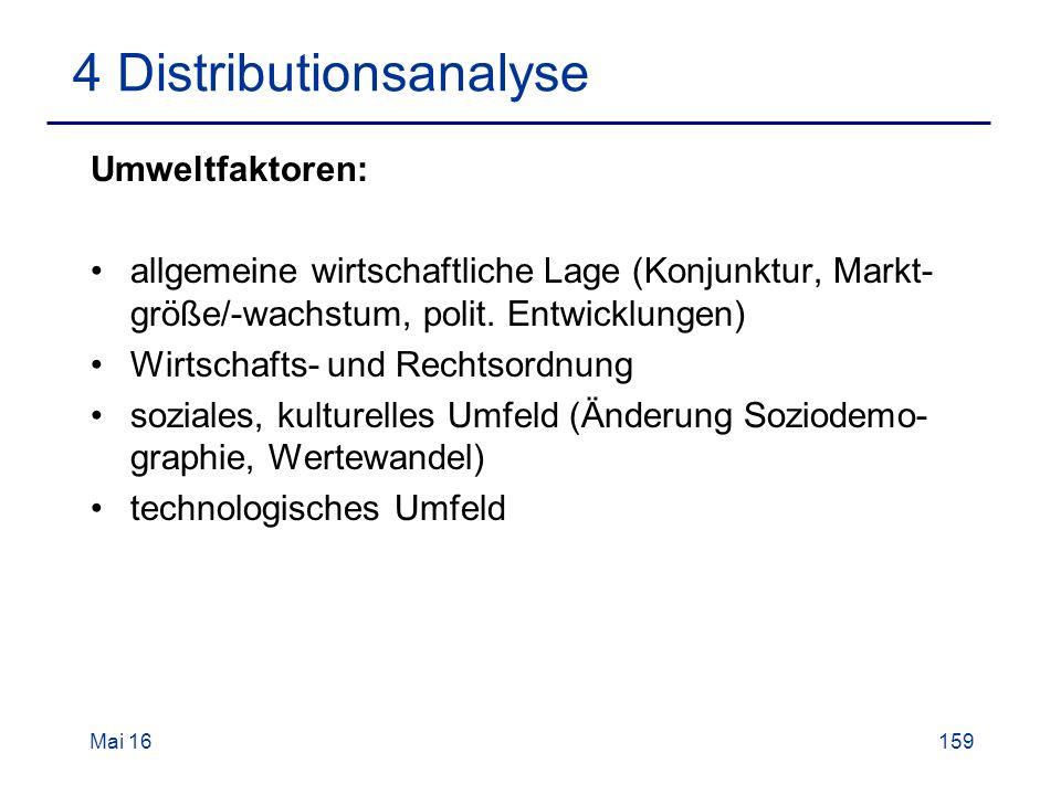 Mai 16159 4 Distributionsanalyse Umweltfaktoren: allgemeine wirtschaftliche Lage (Konjunktur, Markt- größe/-wachstum, polit.