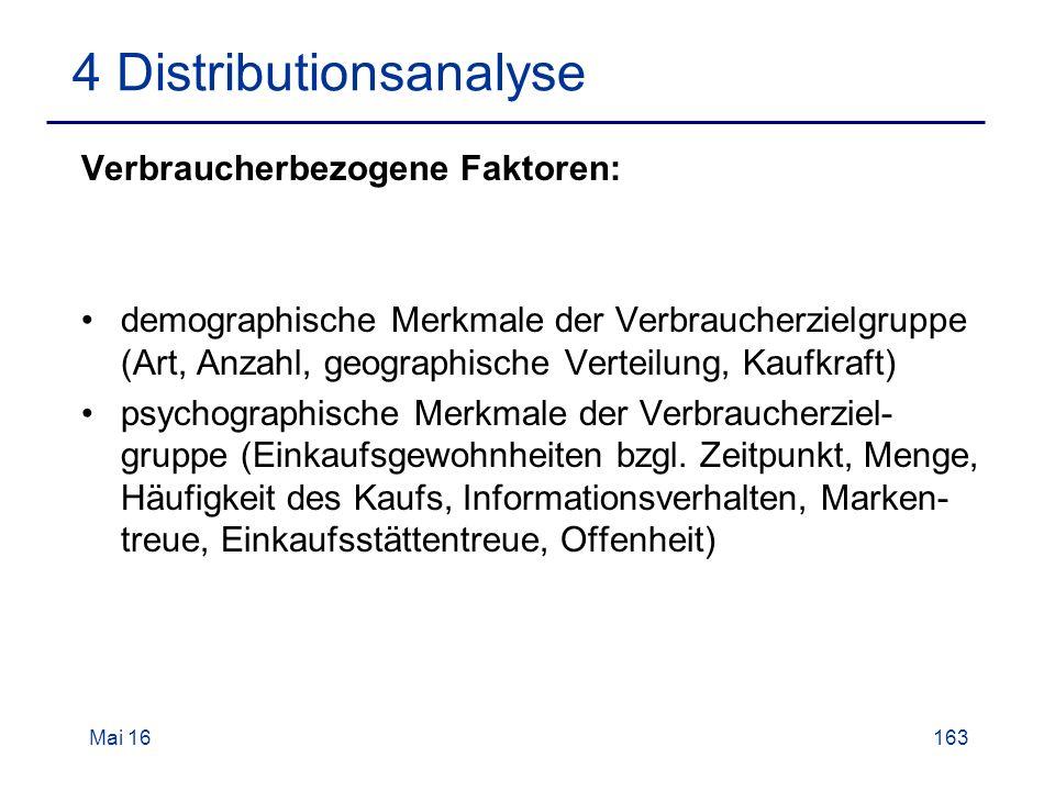 Mai 16163 4 Distributionsanalyse Verbraucherbezogene Faktoren: demographische Merkmale der Verbraucherzielgruppe (Art, Anzahl, geographische Verteilung, Kaufkraft) psychographische Merkmale der Verbraucherziel- gruppe (Einkaufsgewohnheiten bzgl.