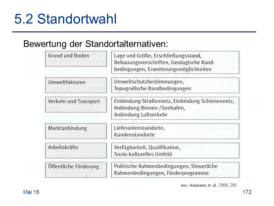 Mai 16172 5.2 Standortwahl Bewertung der Standortalternativen: aus: Ammann et. al. 2000, 291