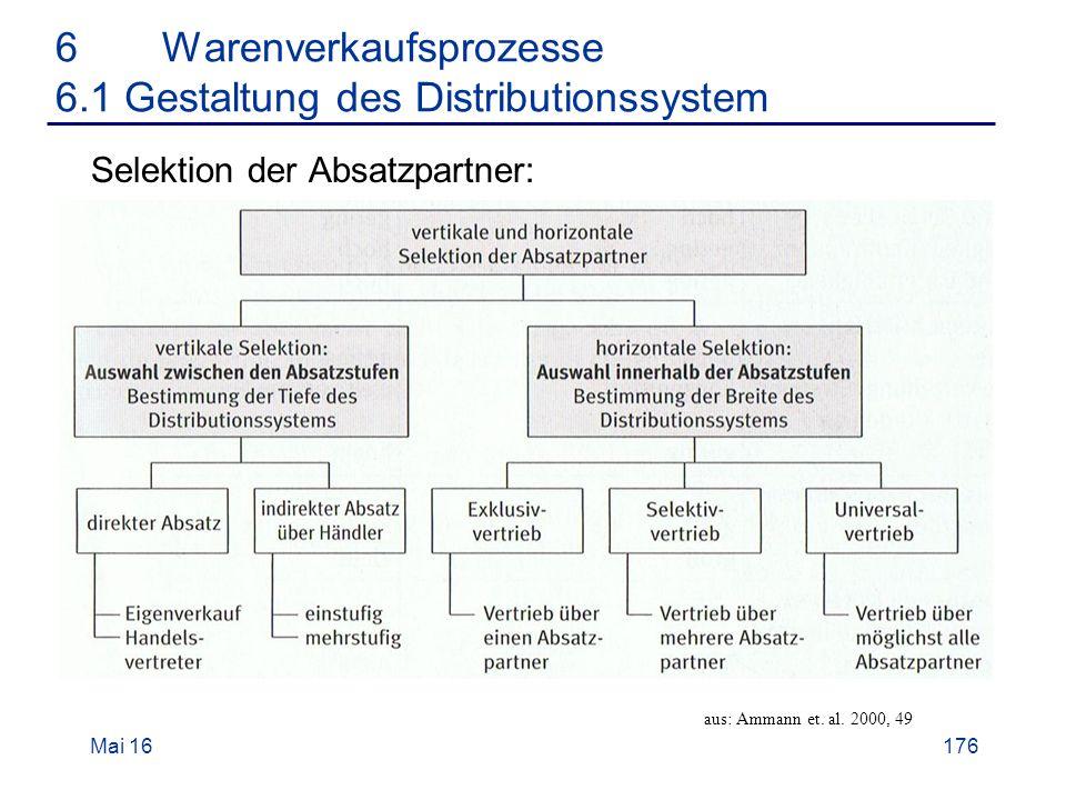 Mai 16176 6Warenverkaufsprozesse 6.1 Gestaltung des Distributionssystem Selektion der Absatzpartner: aus: Ammann et.
