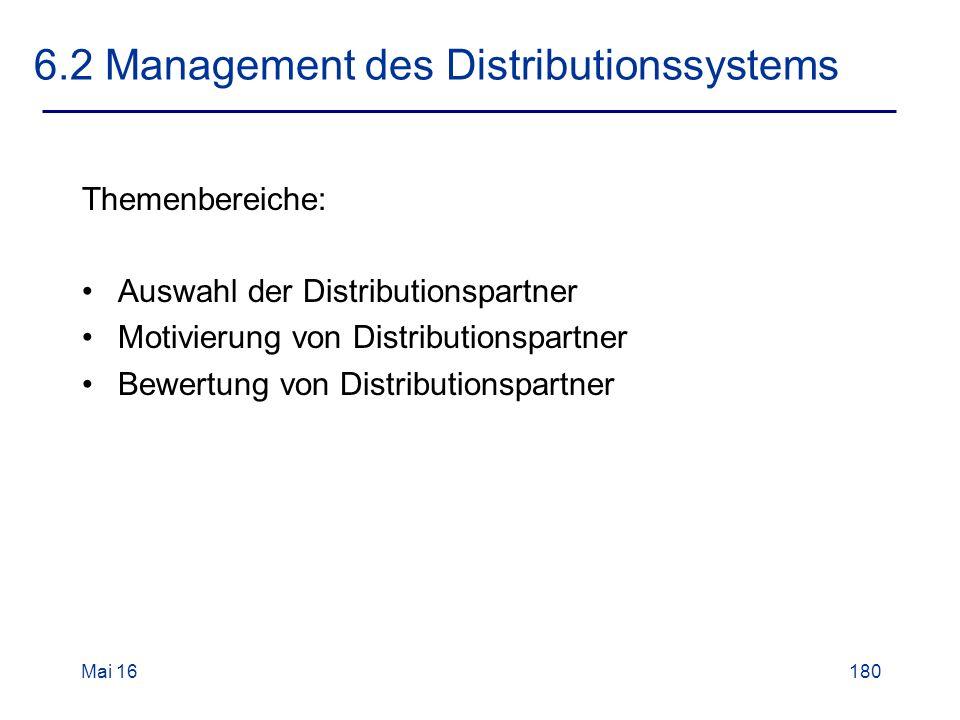 Mai 16180 6.2 Management des Distributionssystems Themenbereiche: Auswahl der Distributionspartner Motivierung von Distributionspartner Bewertung von Distributionspartner